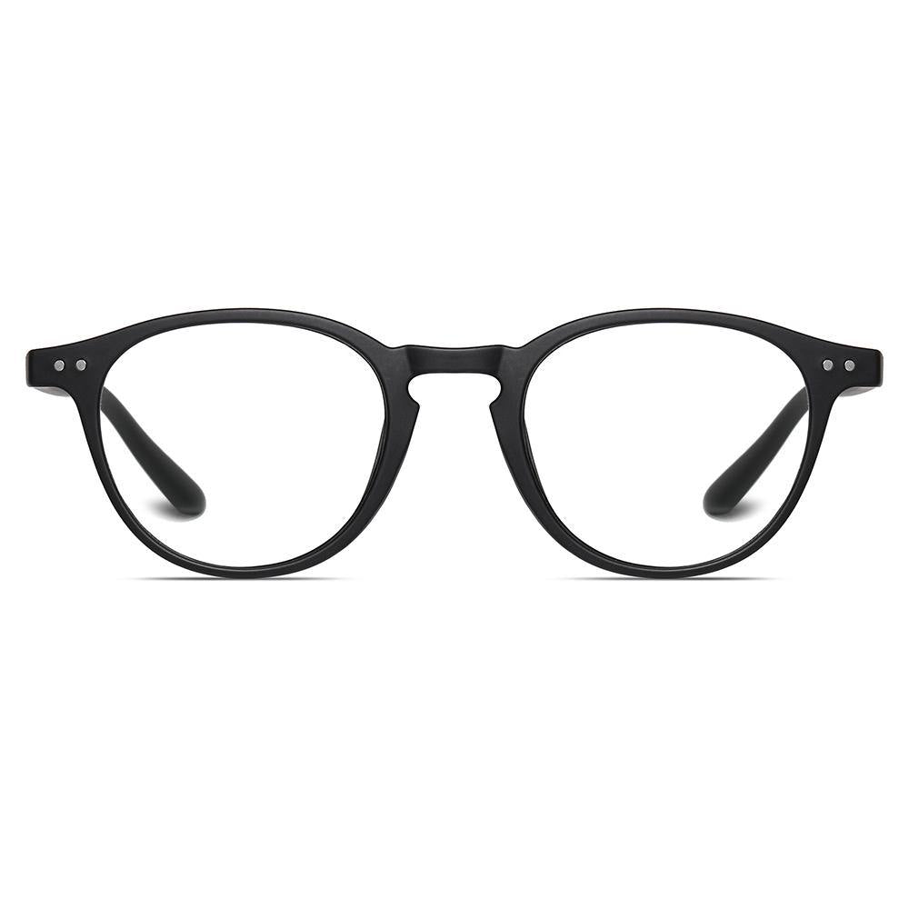 round eyeglasses matt black frames for men women