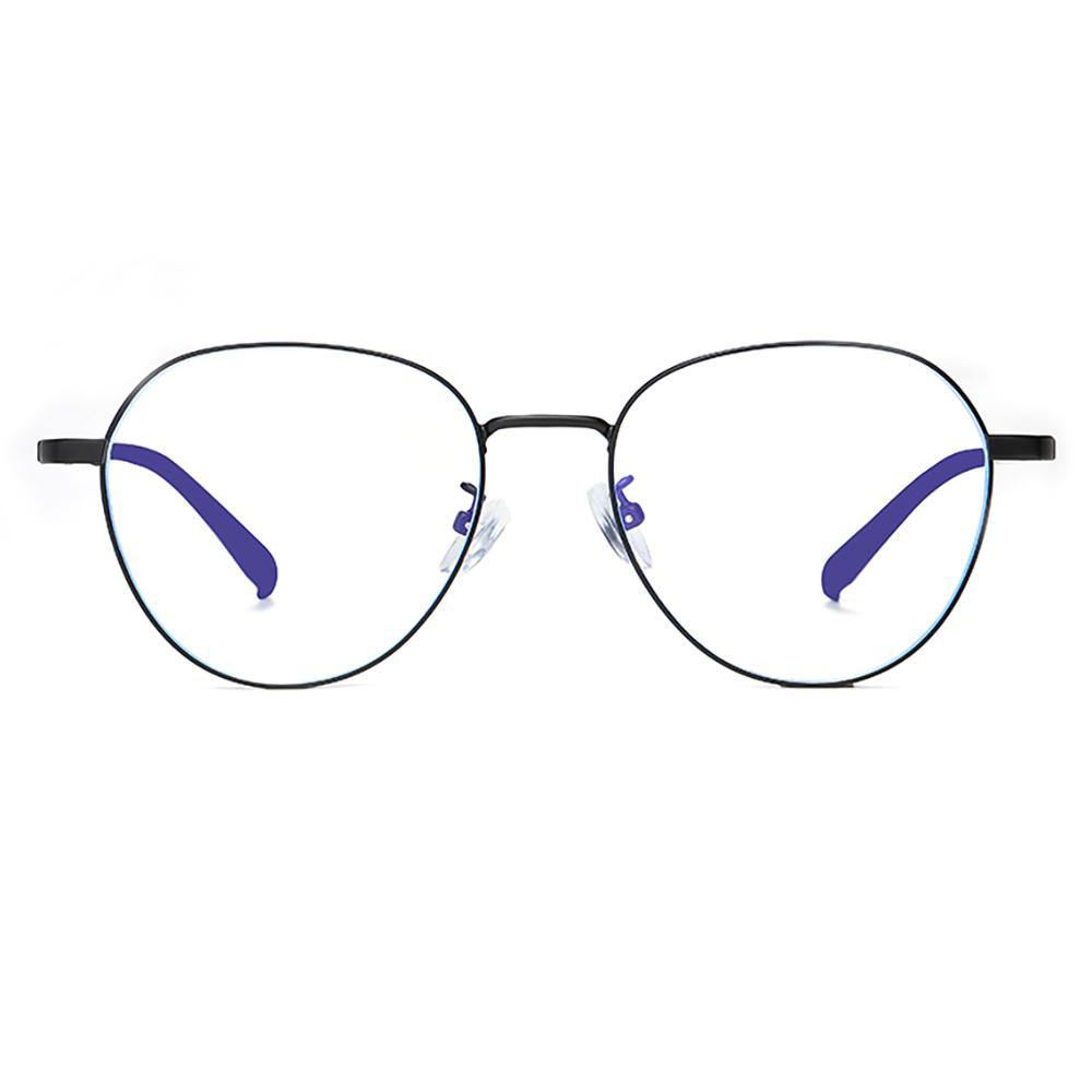 Full black frame round eyeglasses with prescription customized