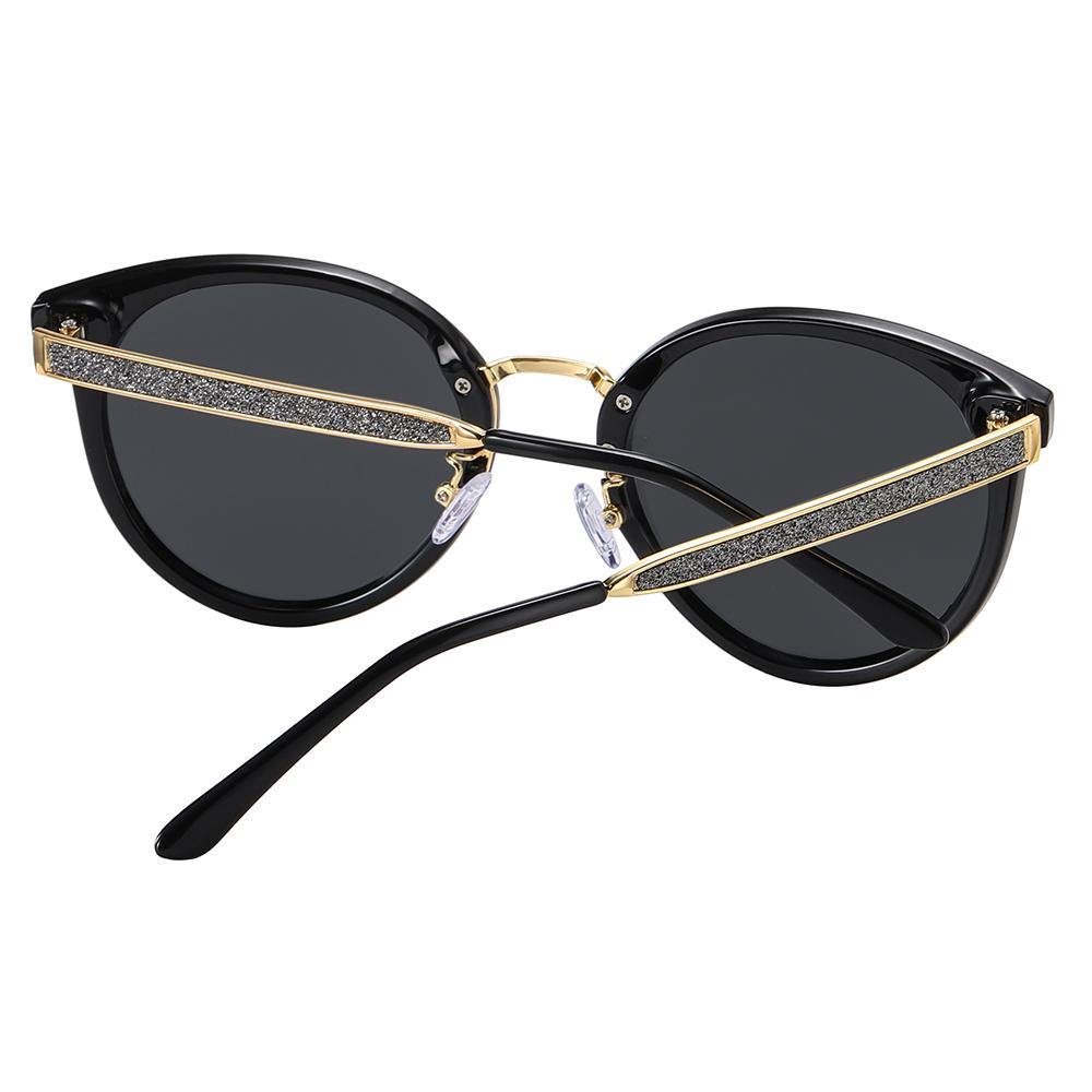 back view of round phanto sunglasses, gold temple arms