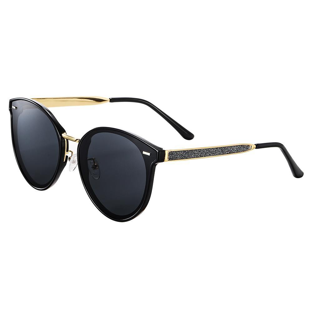 round phanto sunglasses, black lens and frames, gold nose bridge