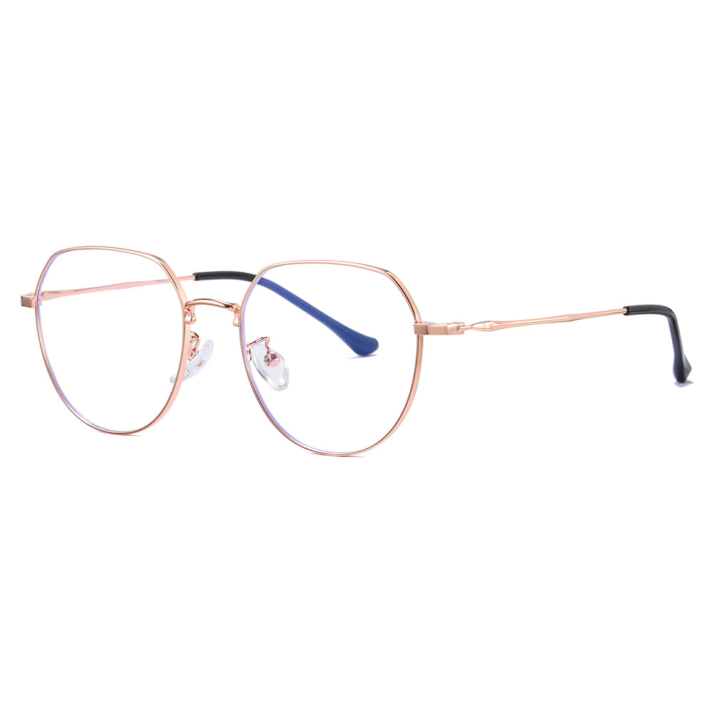 wire frame eyeglasses in rose gold and round shape, rose gold temple arms and black tips