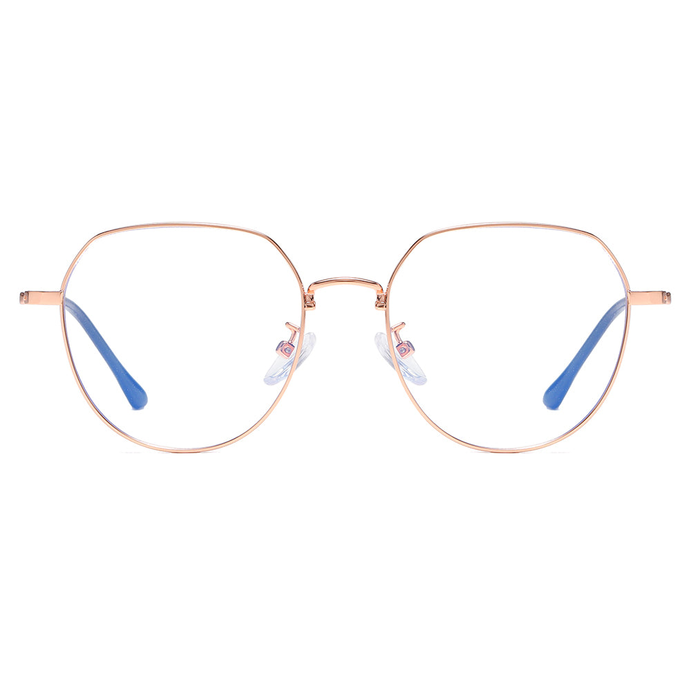 round wire frame eyeglasses in rose gold