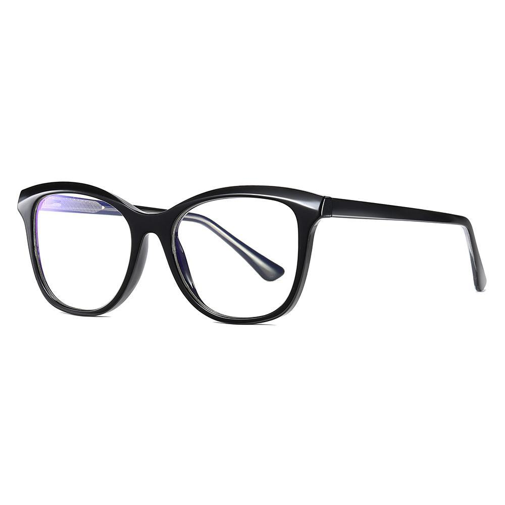 Bright black frames and temple arms of the square cat eye glasses
