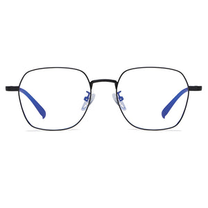 square shaped eyeglasses in black frames and black temple arms