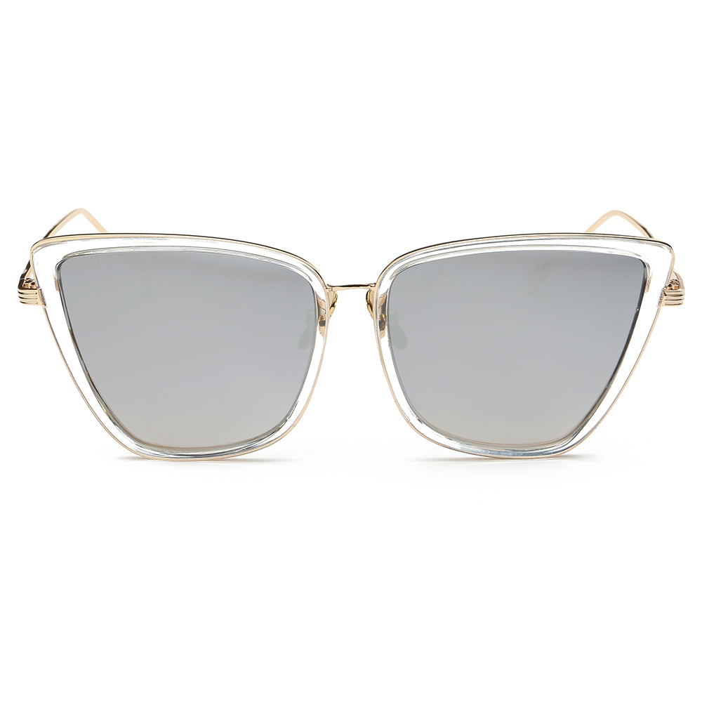 silver sunglasses lens and clear transparent frames