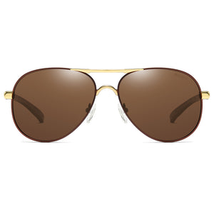 brown tinted lens with gold double bridge, aviator style shape