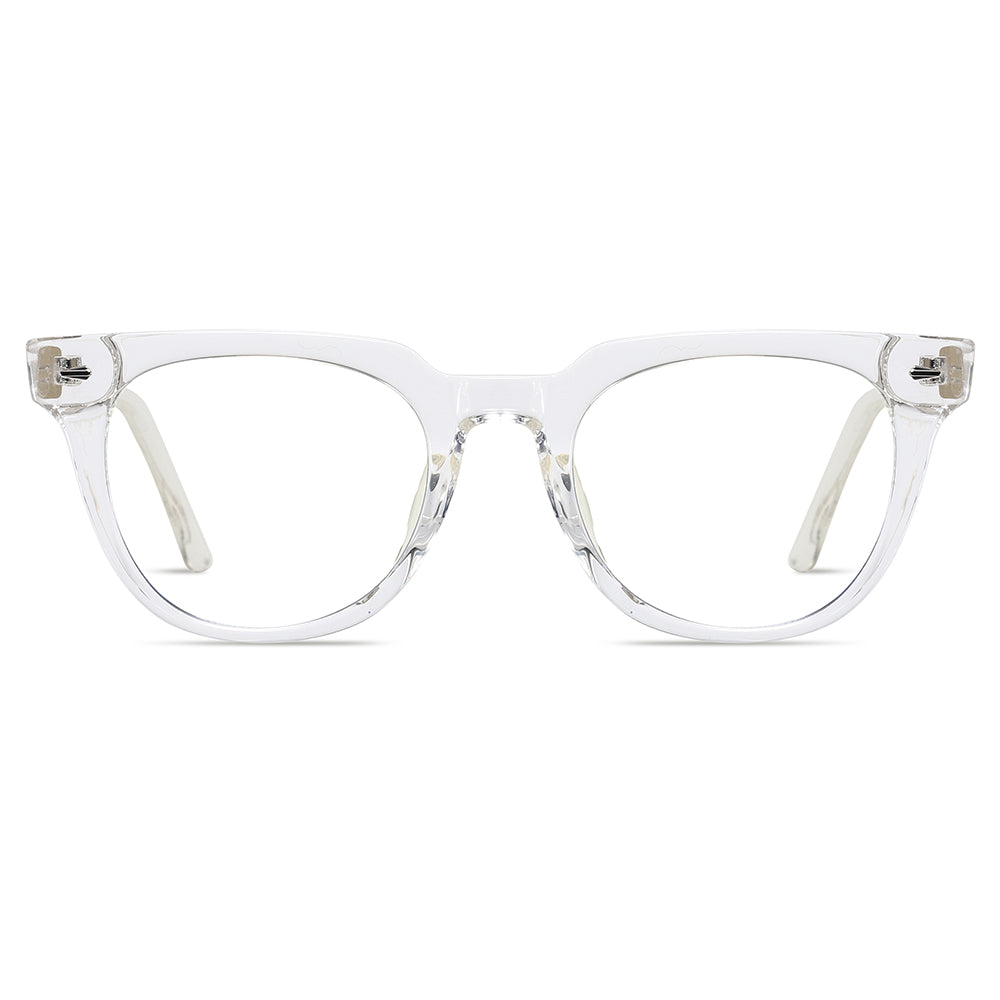 round transition eyeglasses with clear transparent frames