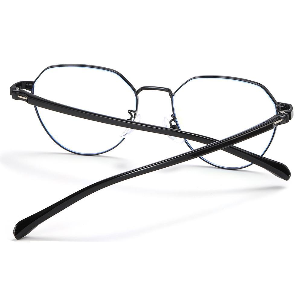 trendy round eyeglasses with black temple arms and frames