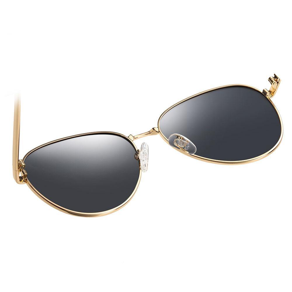 gold trimmed aviator sunglasses has adjustable nose pads