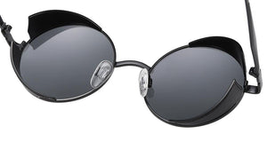 sun spectacles, adjustable nose pads and small round black tint lens