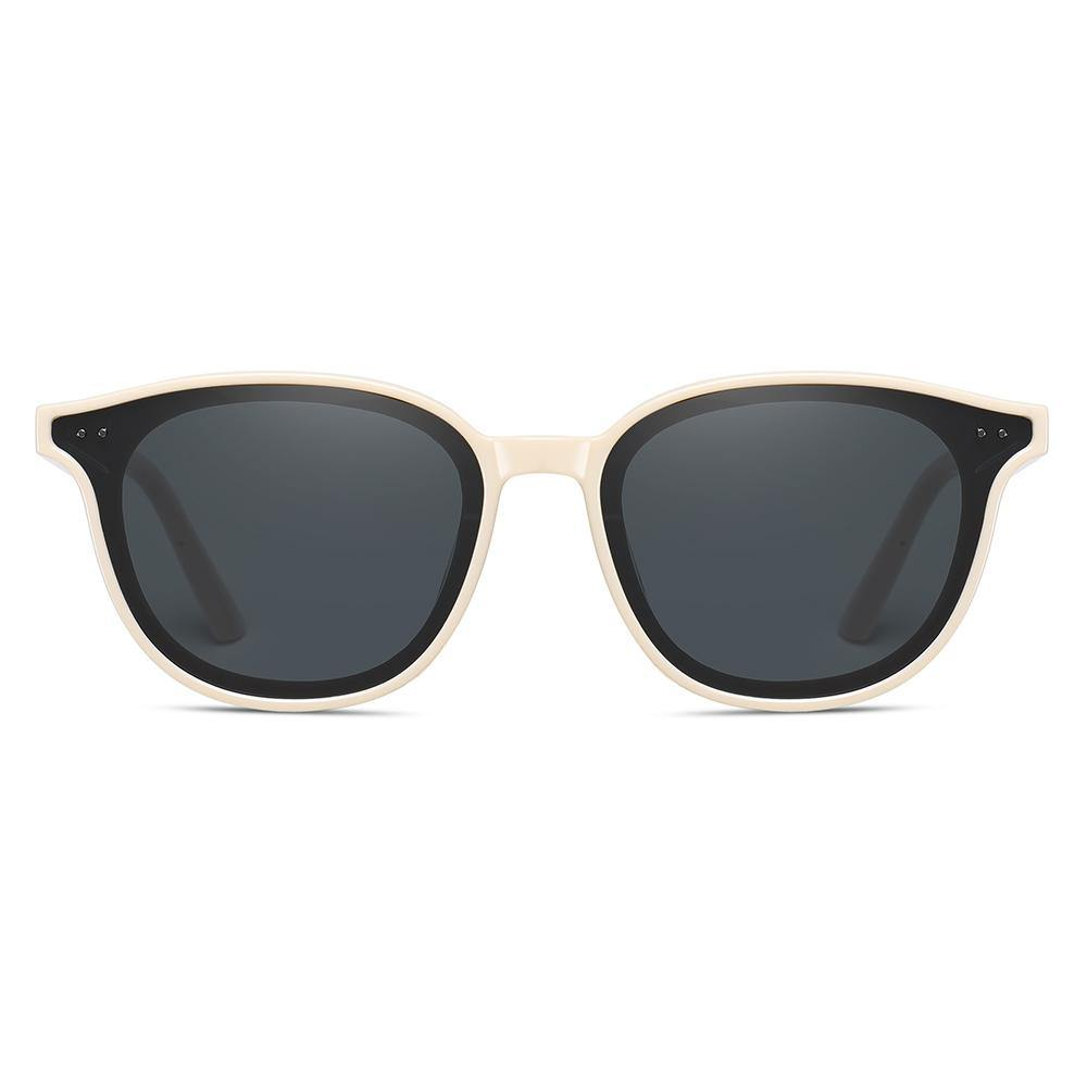Squared-off frame shape with rounded edge, light almond white frame, black tinted lens