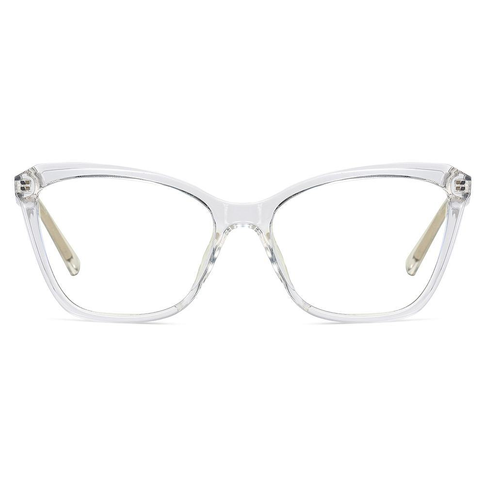optical glasses in bright red frames and rectangle angular shape