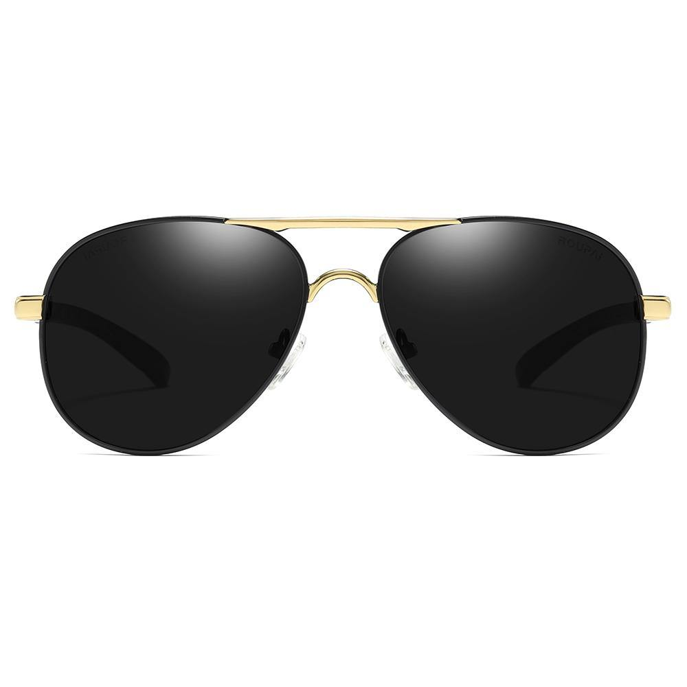 aviator sunglasses black lens tinted with gold double bridge