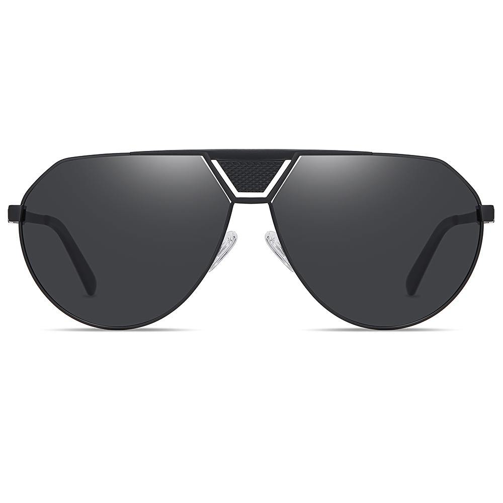 aviator sunglasses in black lens color, flat top style
