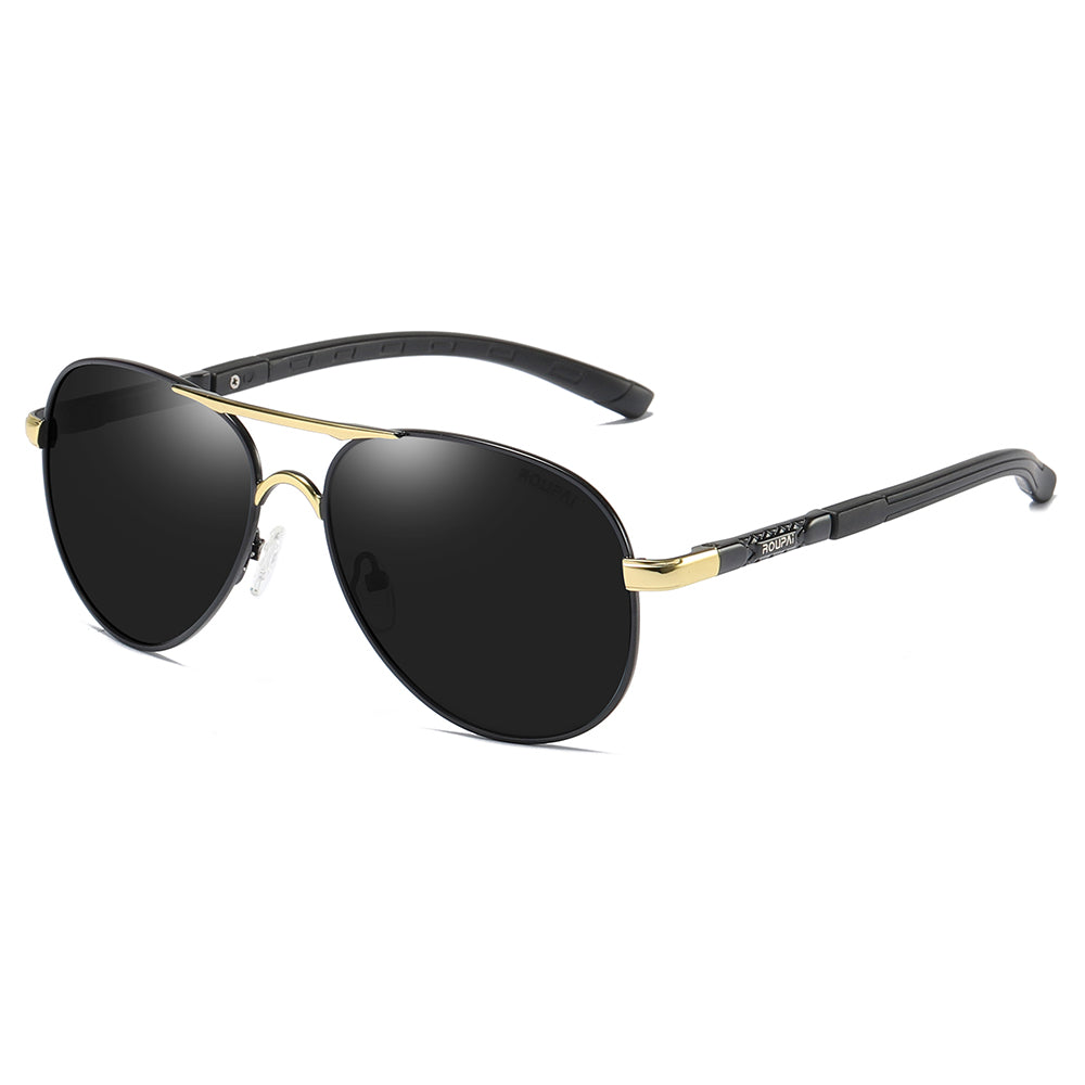 aviator sunglasses with gold double bridge and black temple arms, gold endpieces