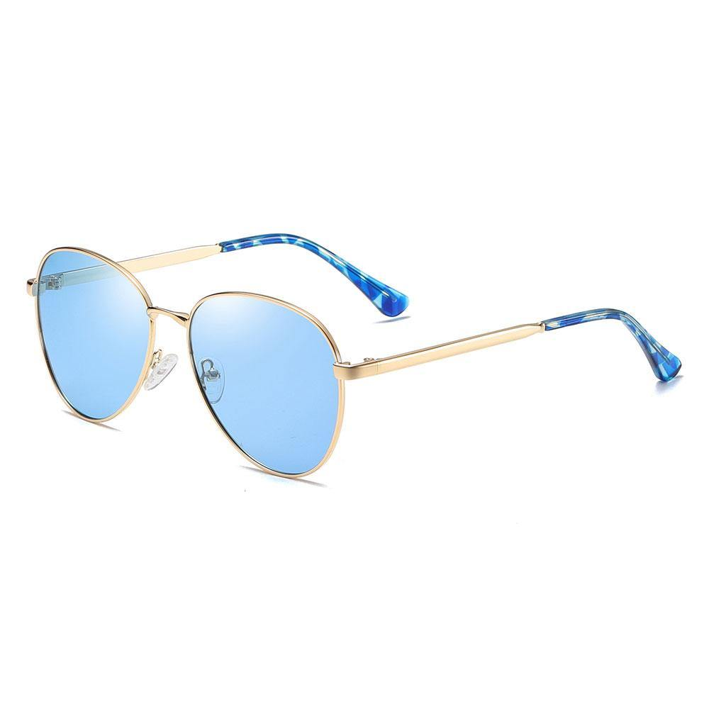 blue aviator sunshades with gold temple arms and tortoise ending tips