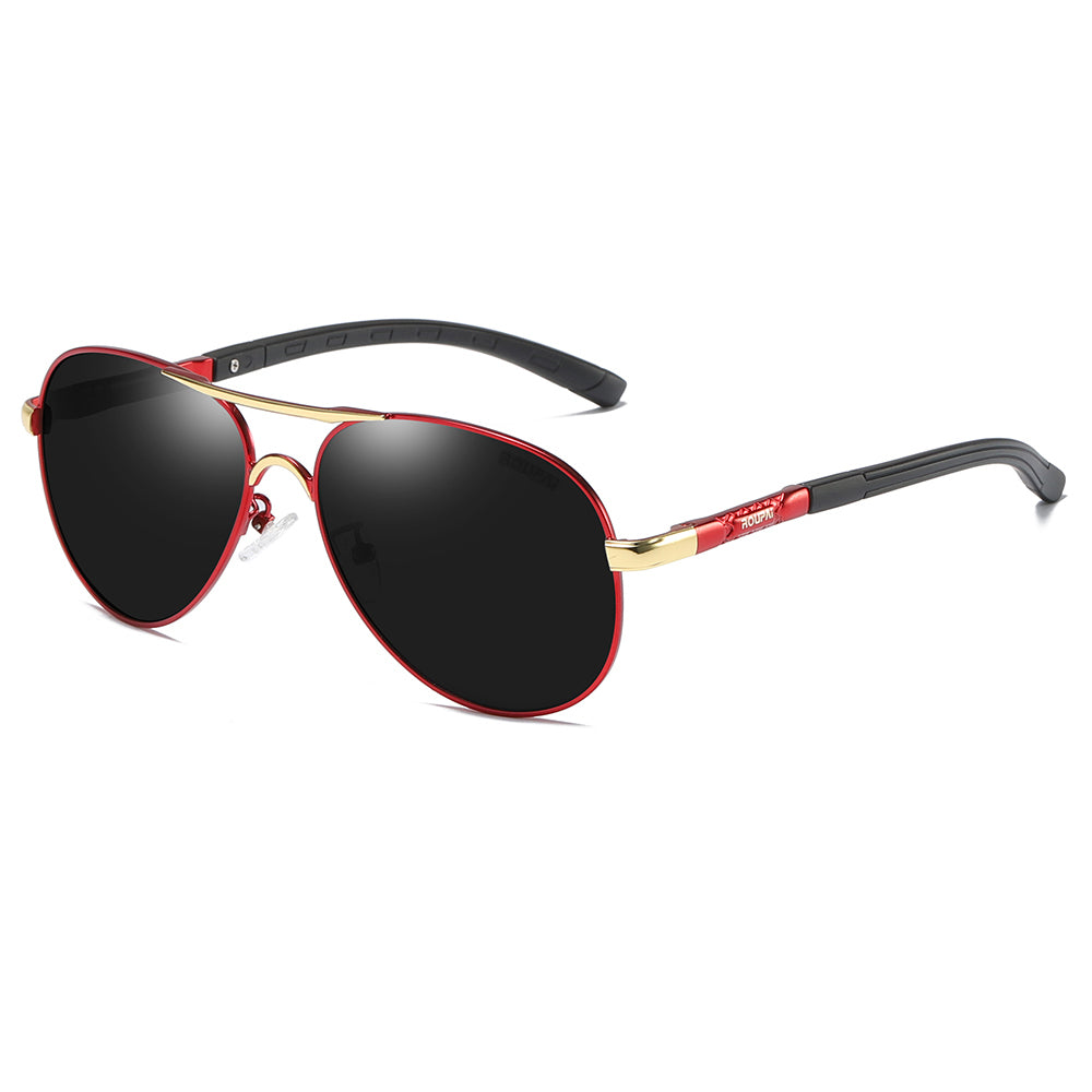 aviator sunglasses black tinted lens with red rim, gold endpieces connected with red temples and black tips