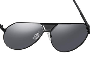 inside view of aviator shaped sunglasses, adjustable nose pads