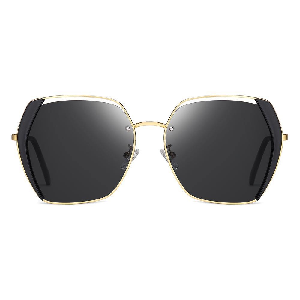 Big Square Sunglasses Black Lenses and Gold Frame
