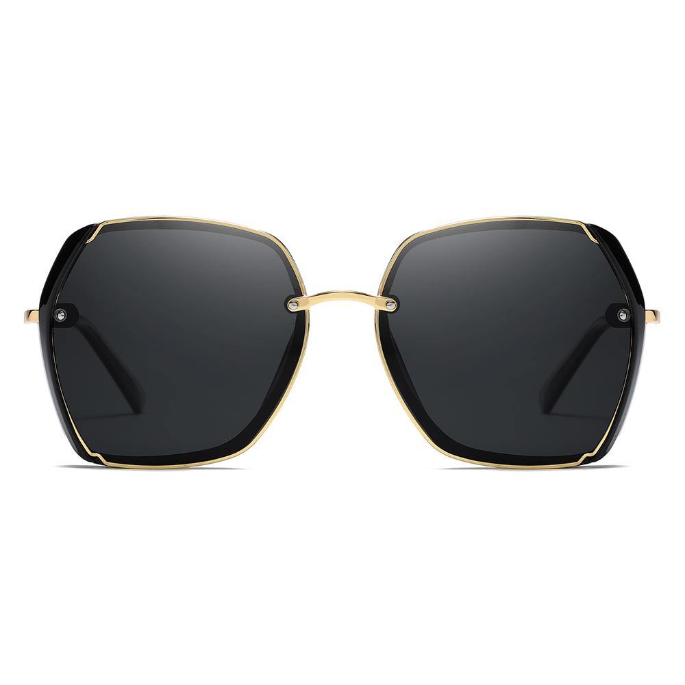 square sunglasses black lense with gold nose bridge and frame trim