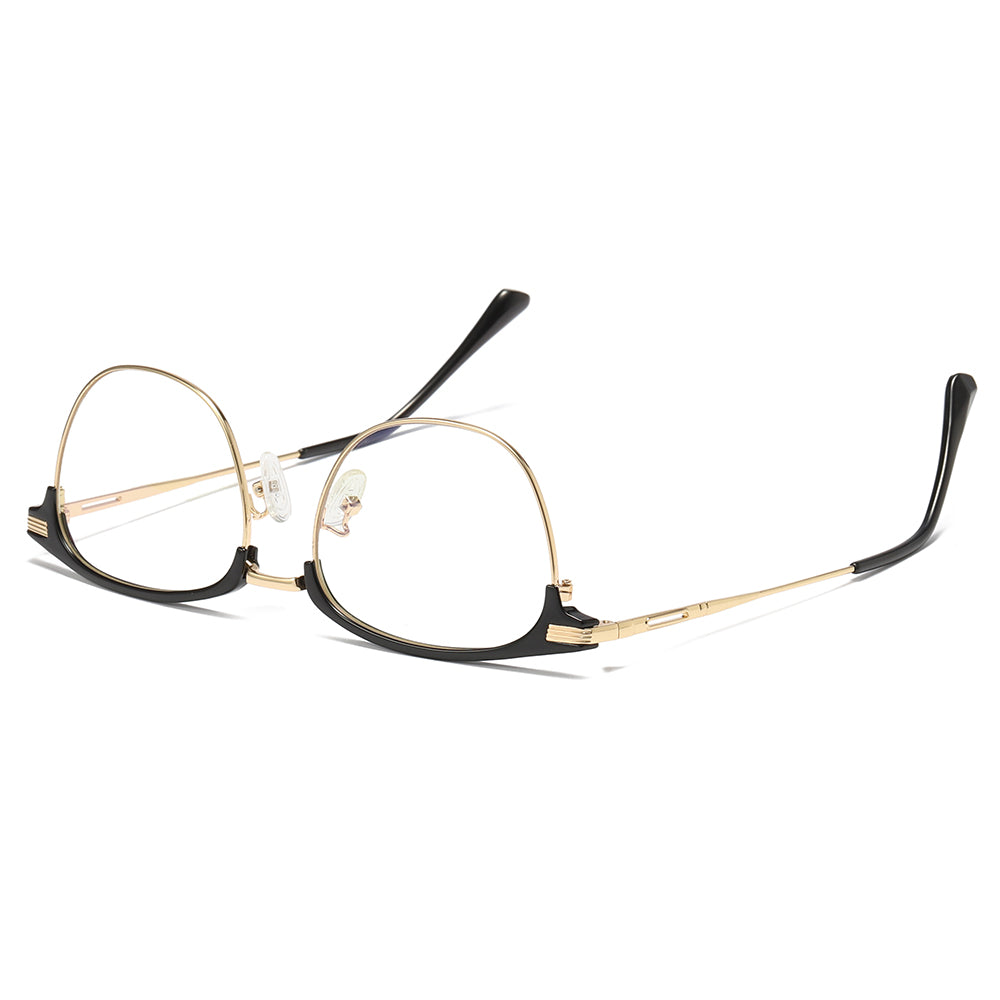 gold rimmed eyeglasses and temples