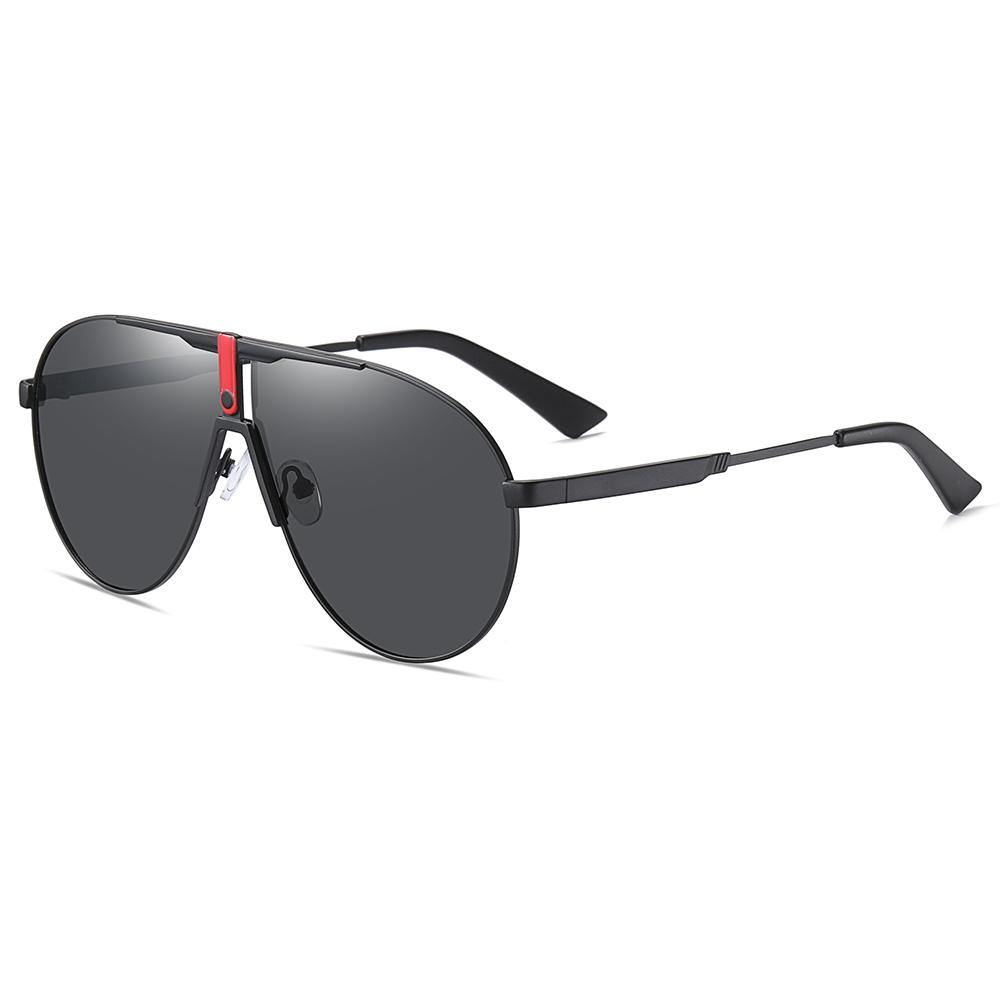 side view of large aviator sunshades, black tint lens color and black frames, flat top style