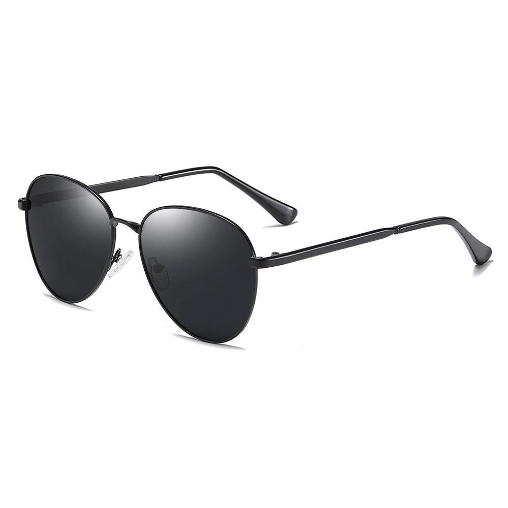 black aviator sunglasses with black temple arms