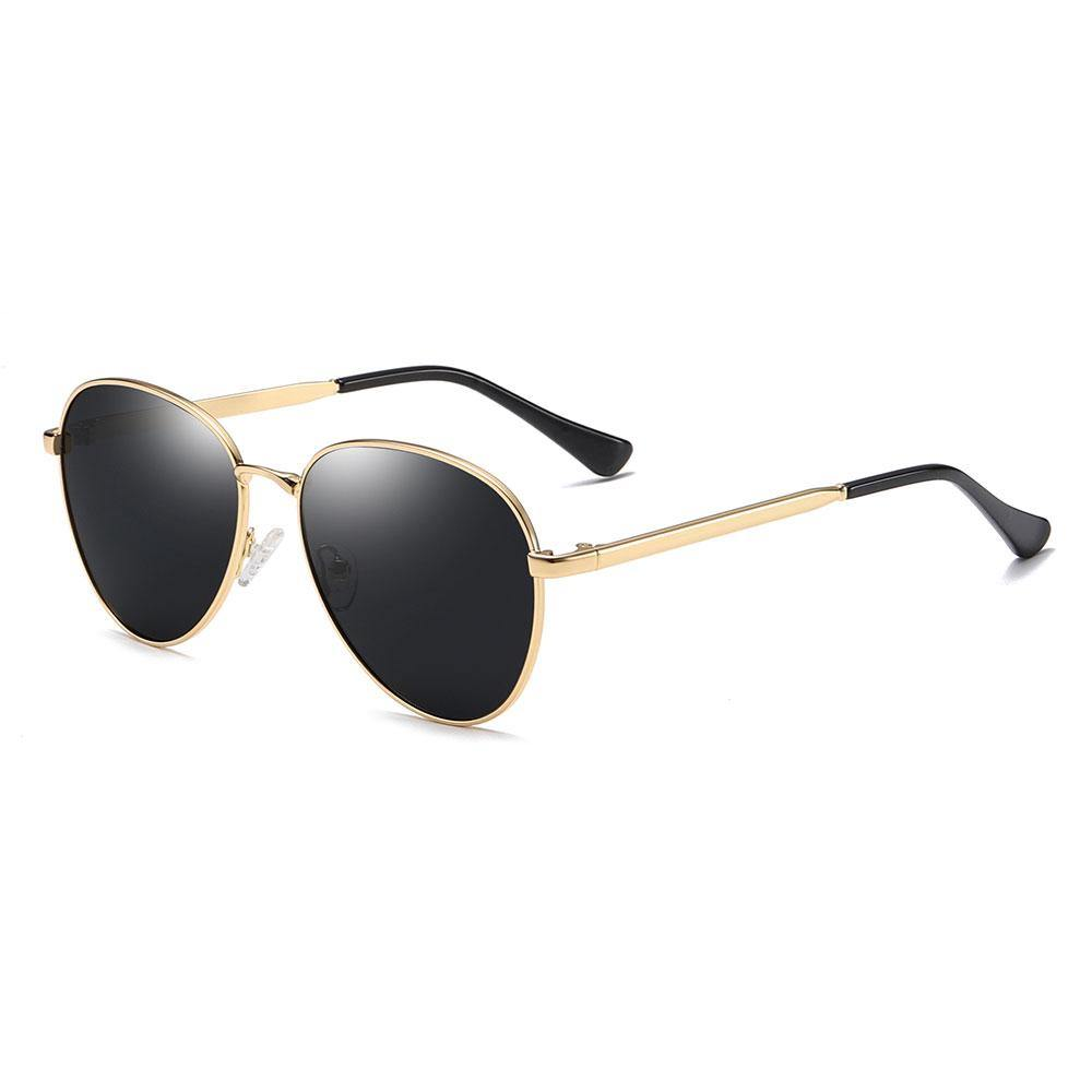 gold aviator sunglasses with gold temple arms and black ending tips