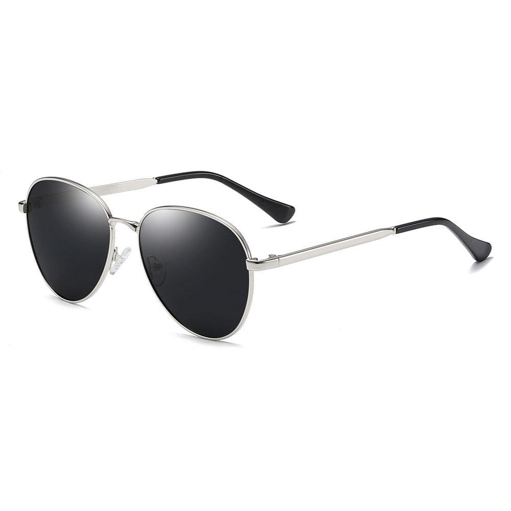 black sunglasses with silver frame, shaped in aviator style, silver temple arms with black ending tip