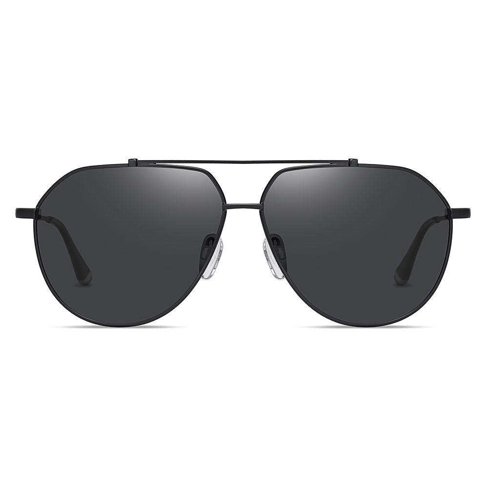 Black aviator sunglasses with double bridge designed, black thin wire frame