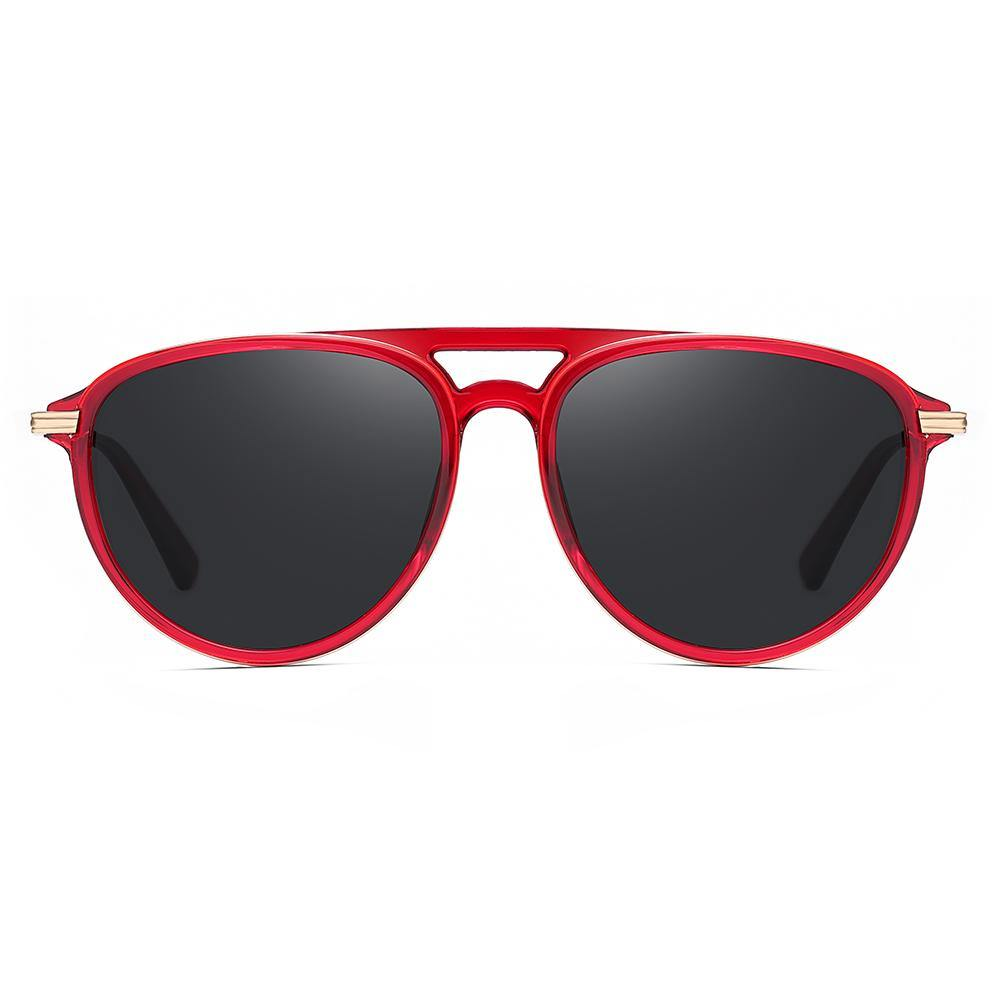 Black tinted lenses rounded sunglasses with red frame, double bridge design, gold end pieces