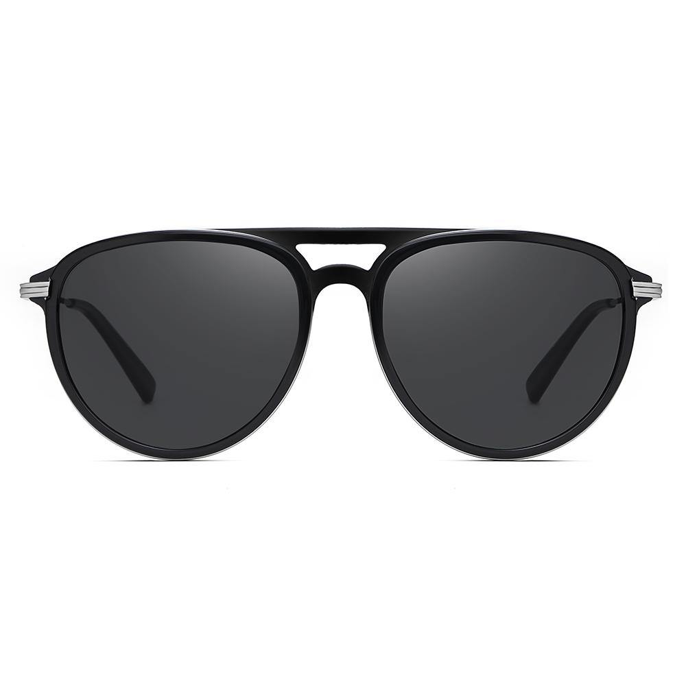 Round shaped frame in black, black tinted lenses, double bridge design