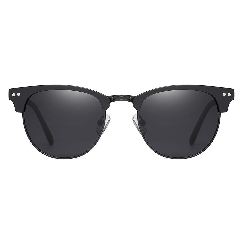 Black clubmaster sunglasses with two dot rivets, black tinted lenses