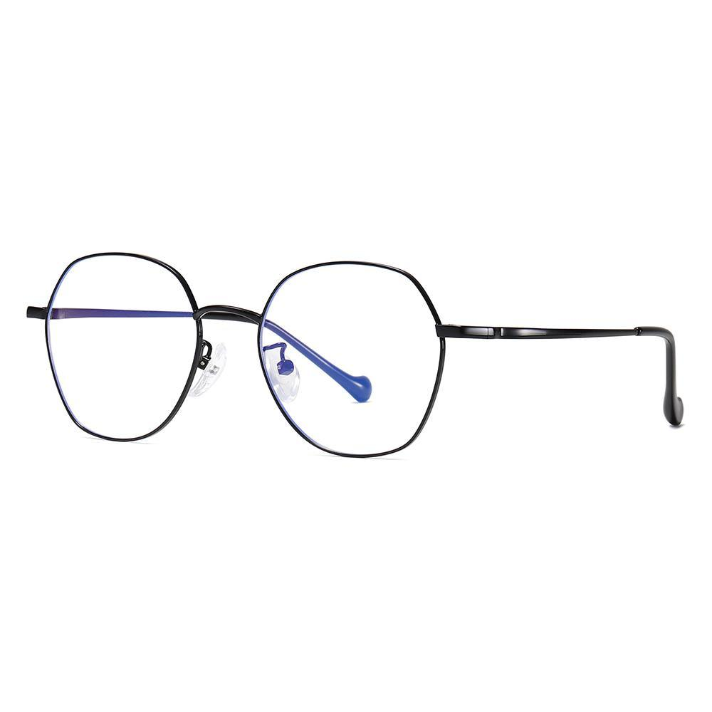 round glasses with black rims and bridges