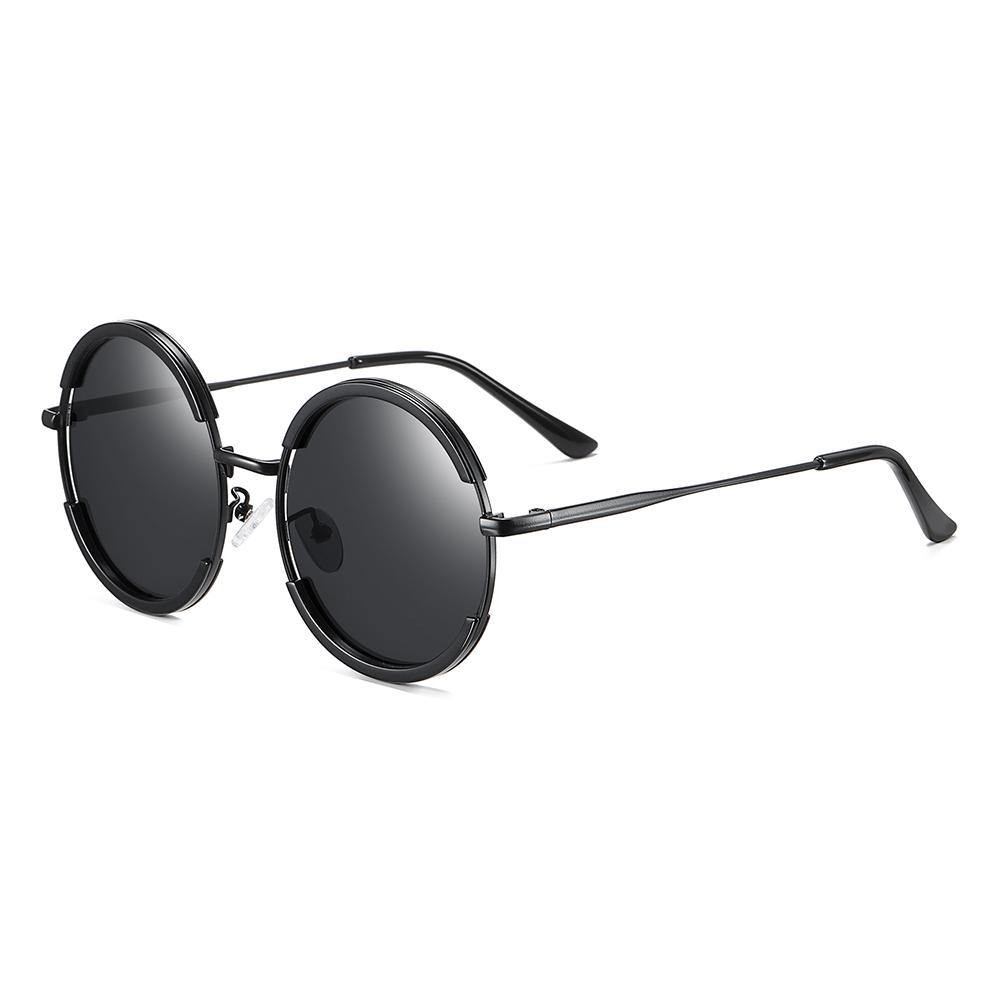 side view of all black sunglasses in small round shape