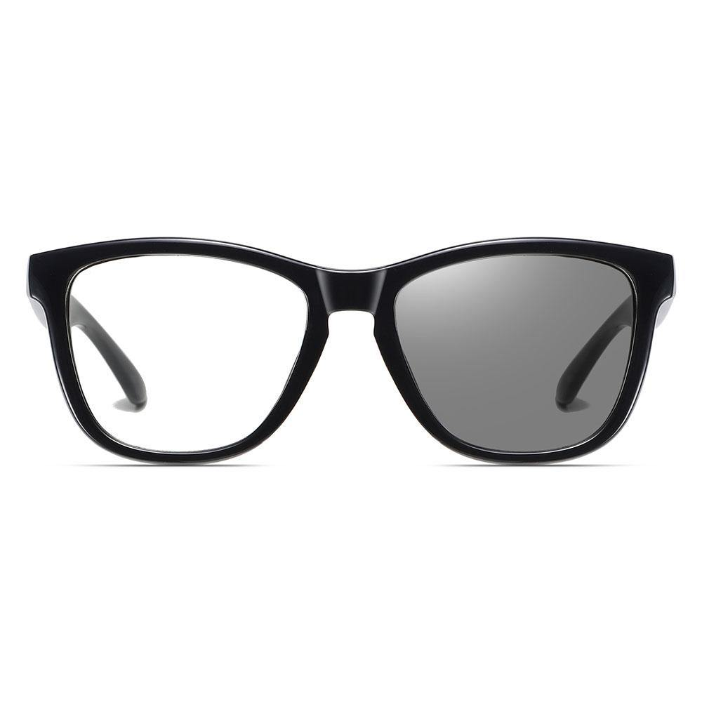 Black square round eyeglasses photochromic lenses