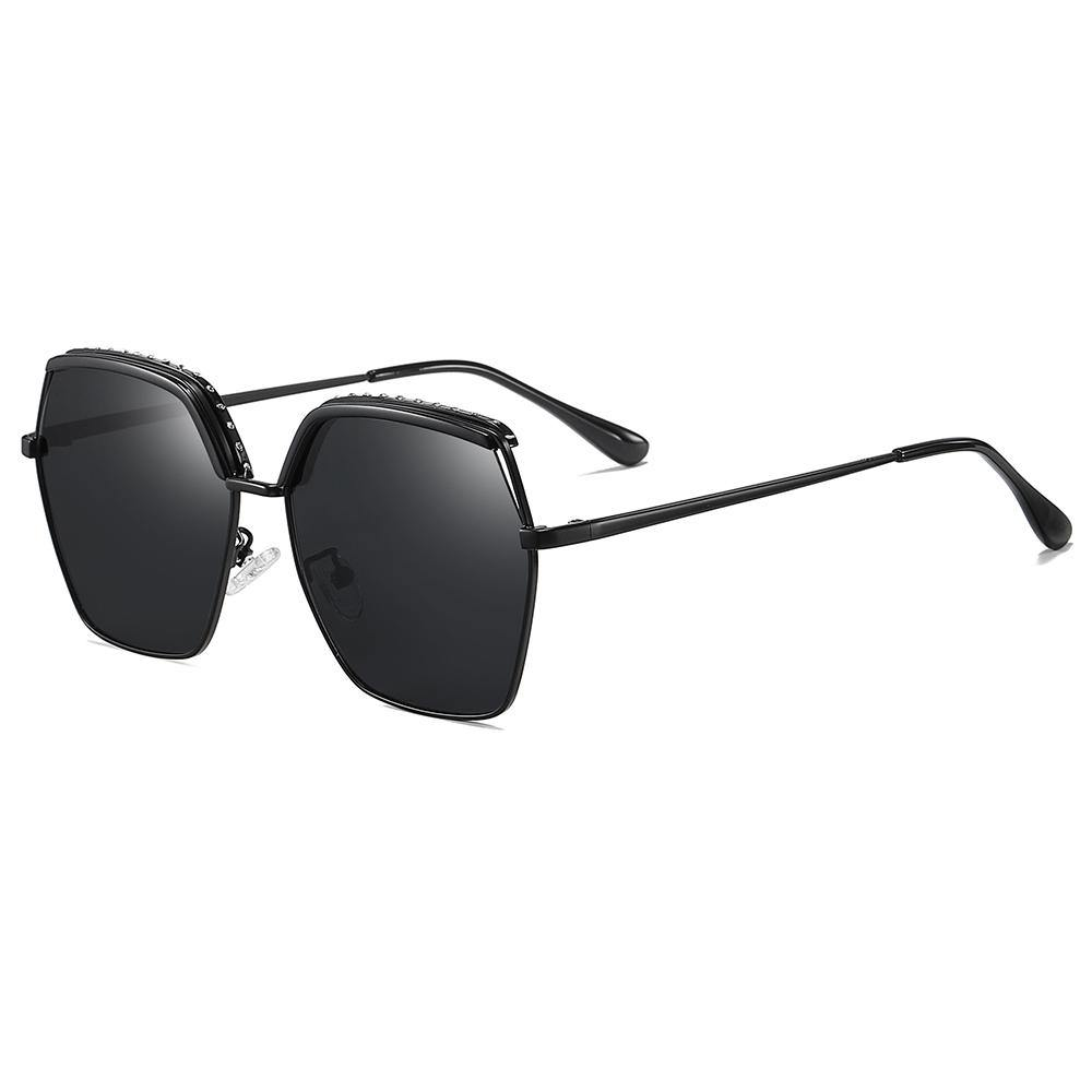 full black sunglasses hexagon shape