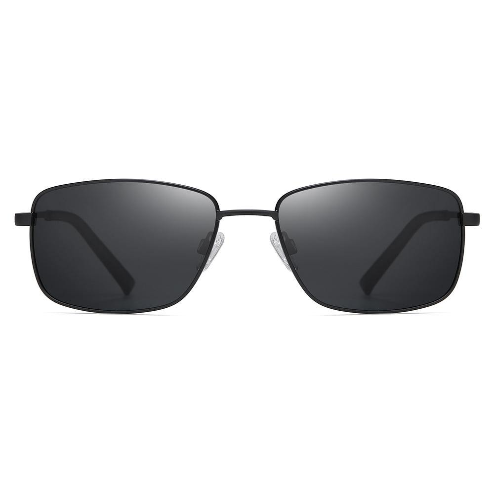 rectangle frame shape with grey tinted lenses, with gold trimmed