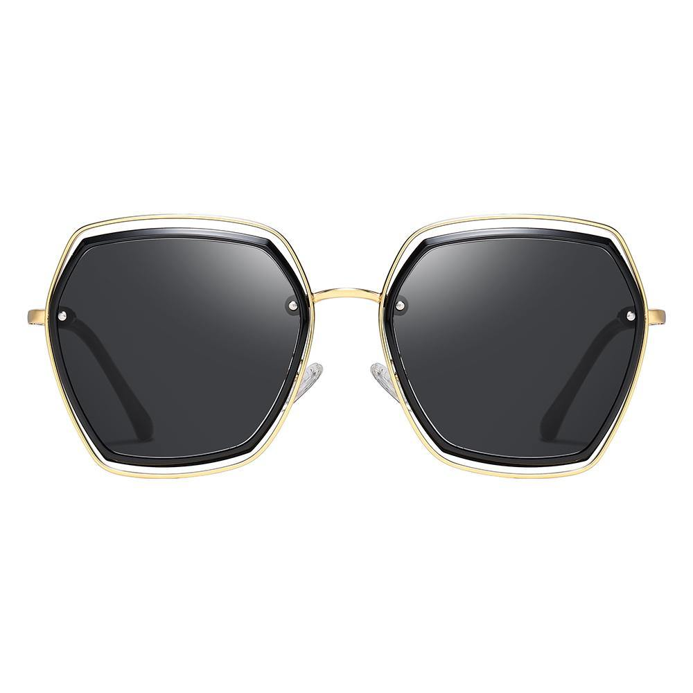 geometric square shape with black lens and gold frame