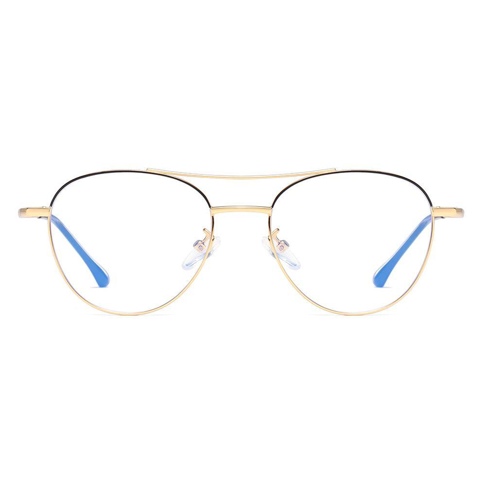aviator shaped frames, top black and bottom gold frame color combination, double bridge