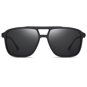black square sunglasses with double bridge