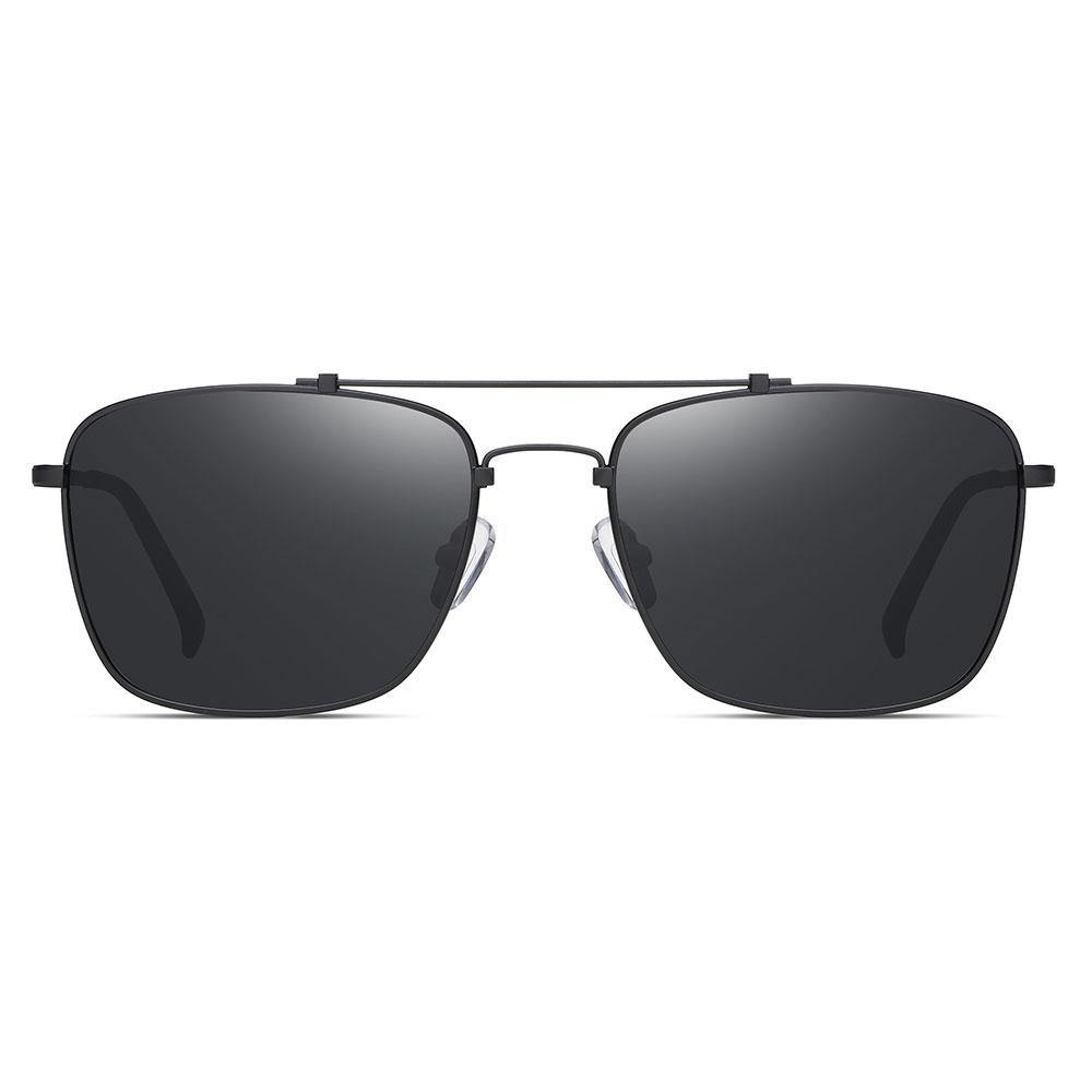 Black rectangular frame sunglasses for men, black tinted lens and thin trim