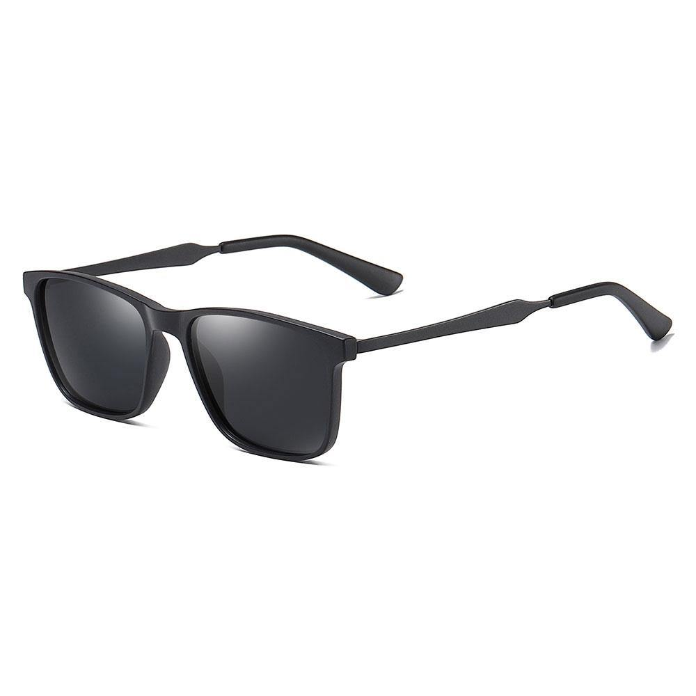 Bright black rectangular sunglasses with black temple arms and ending tips