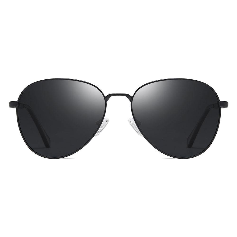 black aviator sunglasses with thin black trim