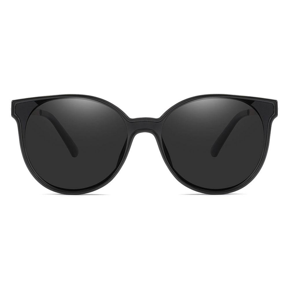 Black sunglasses, round cat eye shape