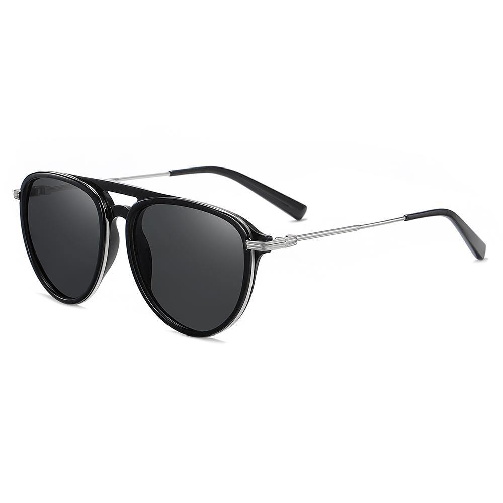 black sunglasses with rounded frame shape and silver temple arms