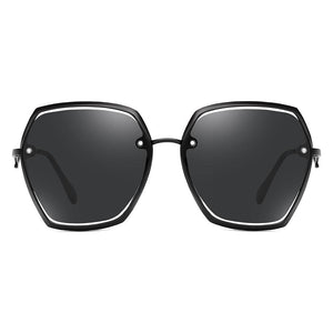 Full black frame hexagon sunglasses with black nose bridge