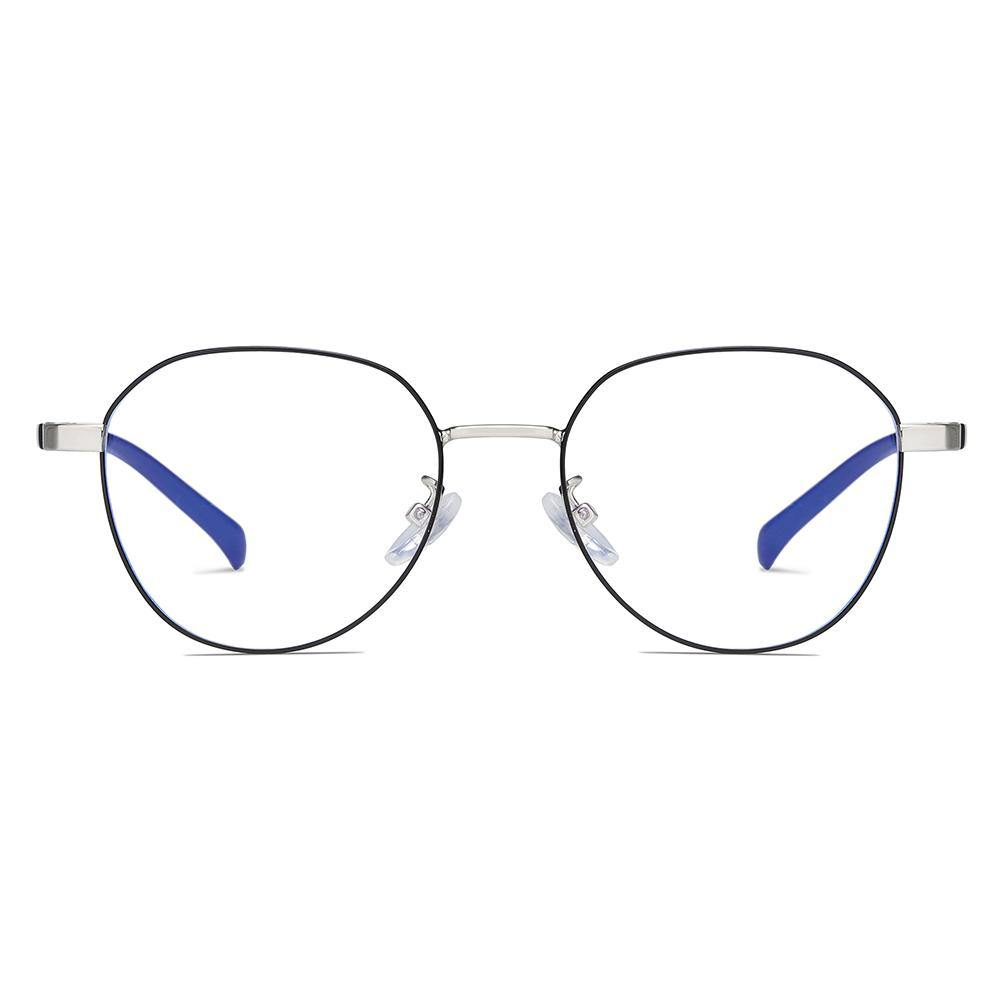 thin wire eyeglasses with rose gold round botton frame