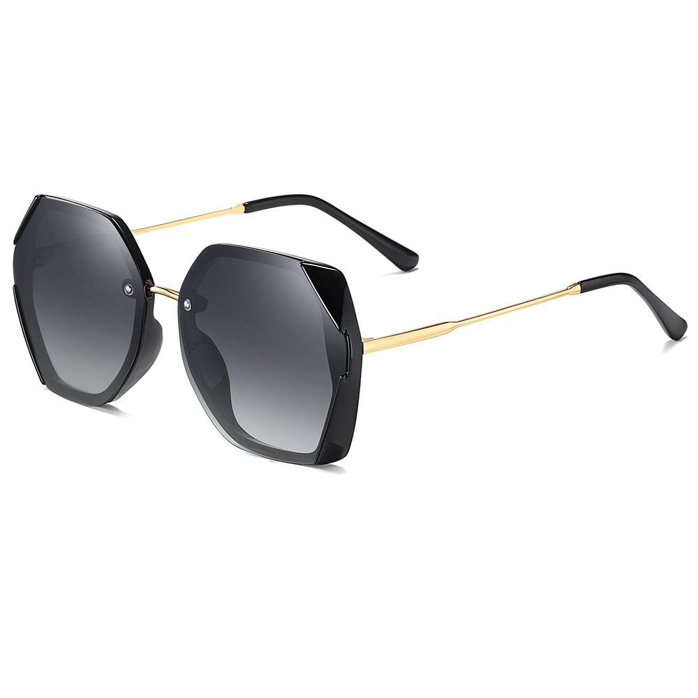 black square sunglasses, gold temple arms with black ending tips