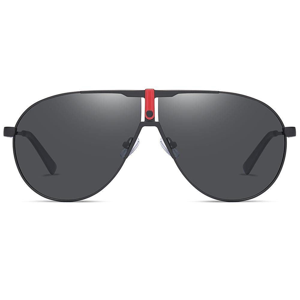 black sunshade in big aviator frame shape, lens color in black tint, flat top